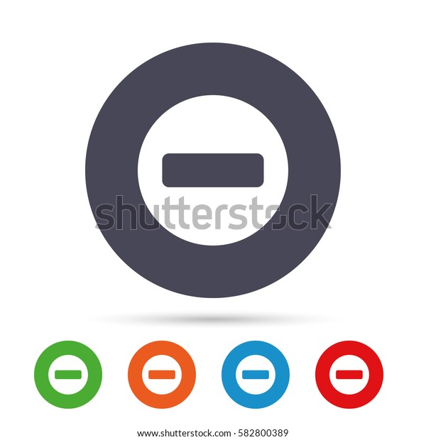 Stop sign icon. Prohibition symbol. No sign. Round colourful buttons with flat icons. Vector