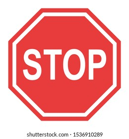 Stop sign, icon STOP vector. Red color singe symbol illustration