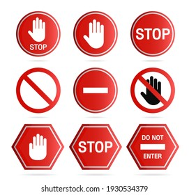 Stop sign icon,Set of the restricted and dangerous vector signs.Illustration of traffic road and stop symbol.