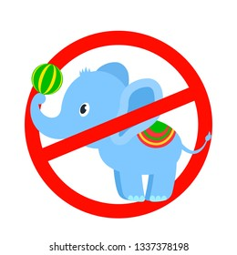stop sign inside the elephant performance at the circus. circus concept without animals. flat vector illustration