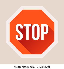 Stop sign with long shadow in flat style. Vector illustration
