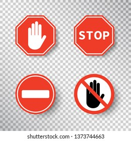 Stop sign and no entry hand symbol set isolated on transparent background. Red road signs. Traffic regulatory warning stop symbol. Notify template for apps and websites. Vector illustration.