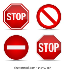 Stop sign, set. Vector illustration