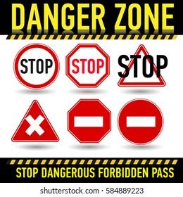 Stop sign, set Vector illustration