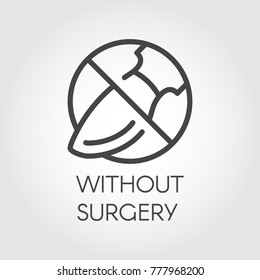 Stop sign surgeon. Icon drawing in thin linear style. Symbol abuse of plastic surgery. Contour graphic label for websites and mobile apps relevant topics. Vector illustration