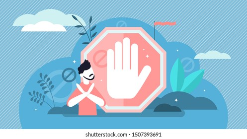 Stop sign vector illustration. Flat tiny prohibition no gesture person concept. Symbolic warning, danger or safety caution information. Forbidden entry or restricted area ban or blocked road alert.