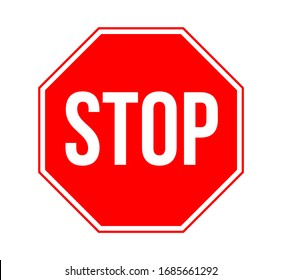 Stop Sign Vector Illustration Isolated on White Background. Traffic Regulatory Warning Stop Symbol.
