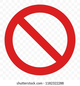 Stop sign vector red icon. Vector warning or no entry forbidden circle and line symbol isolated on transparent background