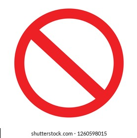 Stop sign vector red icon. No sign, red warning isolated. Vector illustration.