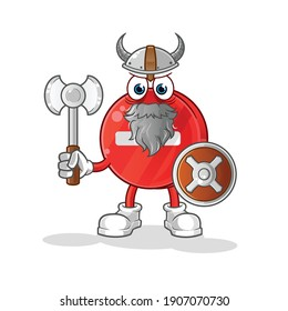 stop sign viking with an ax illustration. character vector