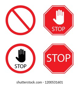 Stop signs collection in red and white, traffic sign to notify drivers and provide safe and orderly street operation. Vector flat style illustration isolated on white background