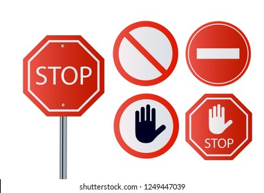 Stop signs collection in red and white, traffic sign to notify drivers and provide safe and orderly street operation. Vector flat style illustration isolated on white background.Vector illustration