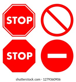 Stop signs collection in yellow, red and white, traffic sign to notify drivers and provide safe and orderly street operation. Vector flat style illustration isolated on white background - Vector