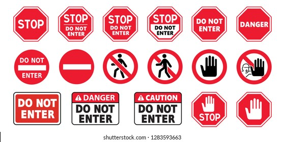 stop signs do not enter danger warning attention traffic road stop vector icon symbool Beware no walking hand hands no admittance handprint emergency prohibition forbid Caution no entry no walk person