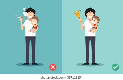 Stop smoking for children, wrong and right for no smoking .vector illustration.