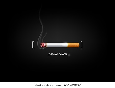 Stop smoking concept advertisement, cigarette burning as cancer loading bar, vector