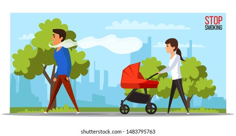 Stop smoking flat vector banner template. Male smoker in park followed by angry mother with baby carriage cartoon character. Anti smoking, fighting nicotine addiction promotional poster design layout
