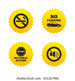 Stop smoking and no sound signs. Private territory parking or public access. Cigarette symbol. Speaker volume. Yellow stars labels with flat icons. Vector