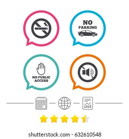 Stop smoking and no sound signs. Private territory parking or public access. Cigarette and hand symbol. Calendar, internet globe and report linear icons. Star vote ranking. Vector