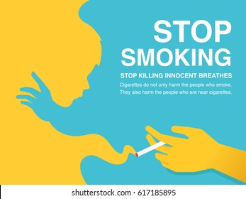 Stop Smoking Poster. Yellow and blue smoke with cigarette in the hand concept.