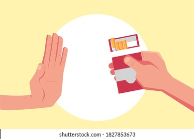 Stop smoking vector concept: Hand of young man rejects a pack of cigarette when his friend offering cigarette