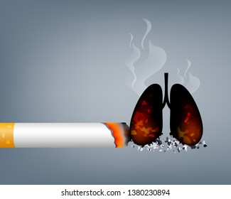 Stop smoking, World no tobacco day. Smoking is harmful to human organs. Resulting in organ damage and premature. Illustration.