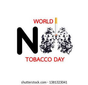 Stop smoking, World no tobacco day. Smoking is harmful to human lung. Resulting in organ damage and premature. Illustration.