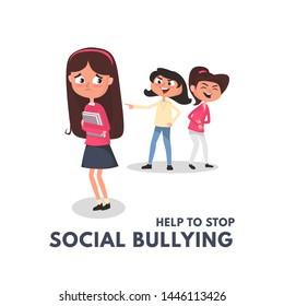 Stop social bullying concepts with bad girls bullying another girl. Kids bullying at school concept. Bullying teenagers cartoon vector illustration.