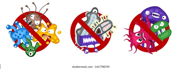 Stop spread virus symbol set. Cartoon germ characters isolated vector illustration on white background. Cute fly bacteria infection character. Microbe viruses and diseases protection