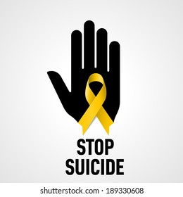 Stop Suicide sign.  Black hand with yellow ribbon on white background
