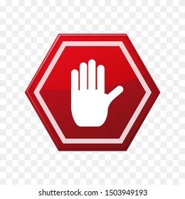 stop symbol vector, red with hands for symbol isolated.