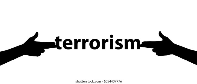 stop terrorism concept. illustration on white isolated background. Silhouette of a girl