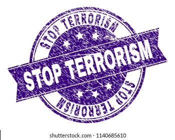 STOP TERRORISM stamp seal watermark with grunge texture. Designed with ribbon and circles. Violet vector rubber print of STOP TERRORISM label with dust texture.