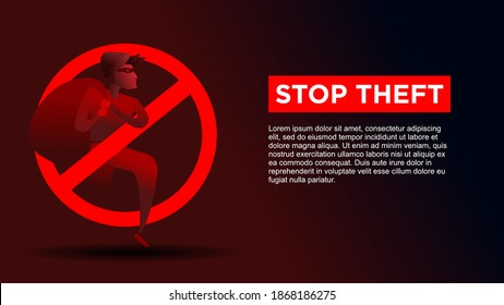 stop theft. thief inside stop icon. business metaphor for stop cyber criminal movement vector illustration