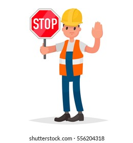 Stop. There is no road. Road builder, adjuster shows a road sign and hand gesture. Vector illustration in a flat style