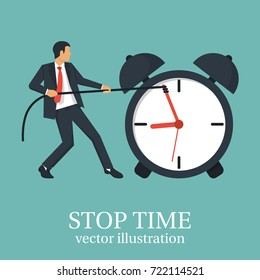 Stop time concept. Business metaphor. Vector illustration flat design. Isolated on white background. Businessman in suit push back hour hand. Deadline. Time management.