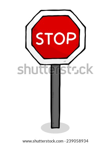 stop traffic sign cartoon vector illustration stock vector royalty rh shutterstock com stop sign cartoon clip art bus stop sign cartoon