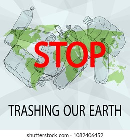 Stop trashing our Earth. World Environment Day vector illustration. Beat Plastic Pollution.