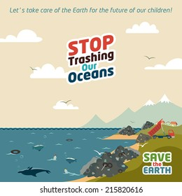 Stop trashing our oceans. Save the Earth eco illustration