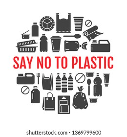 Stop using plastic circle template with flat glyph icons. Polyethylene pollution awareness vector illustration for poster. Signs of plastics waste, bag, package, canister, bottle, food container.