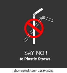 Stop using Plastic straws icon, Stop plastic pollution on sea, the refusal of disposable plastic drinking straws, vector illustration.