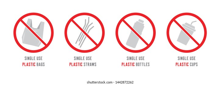 Stop using single use plastic cups, straws, bottles or bags. Global warming pollution effect concept. Keep our oceans clean from microplastic.
