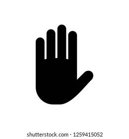 Stop vector icon. Hand symbol. Hand icon