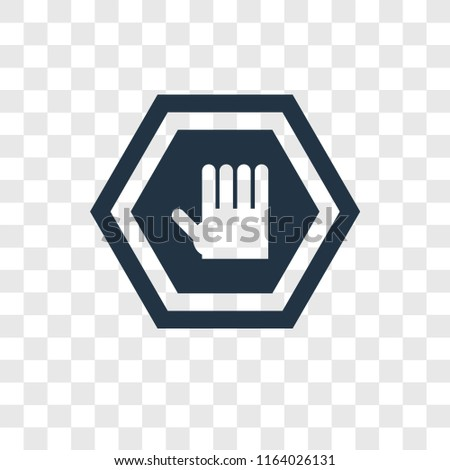Stop Vector Icon Isolated On Transparent Stock Vector