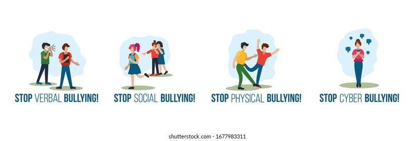 Stop verbal social physical cyber bullying set vector illustration. Encouragement quotes cartoon design. Swearword violence and harassment concept. Isolated on white background
