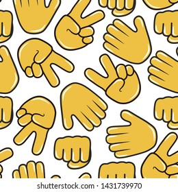 Stop and victory hand emoji seamless pattern. Chat emoticon icon background. Hi and peace gesture and sign.