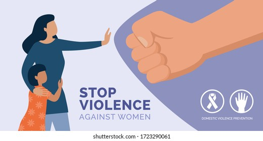 Stop violence against women awareness: mother protecting her daughter and herself and reacting against domestic violence