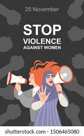 Stop violence against women conceptual illustration with two women protesting with megaphones in their hands. Image for banner or postcard in flat style.