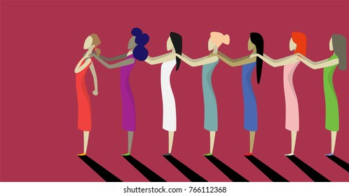 Stop violence against women. Conceptual image of brave women who are fighting for their rights. Women in the picture are holding each other's shoulders in support.  flat
