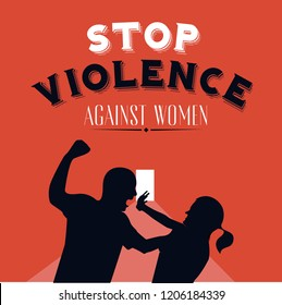 Stop violence against women. Retro style